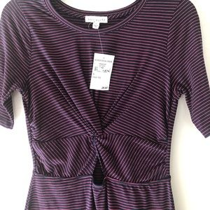NWT Socialite 3/4 Sleeve Maroon Striped Dress